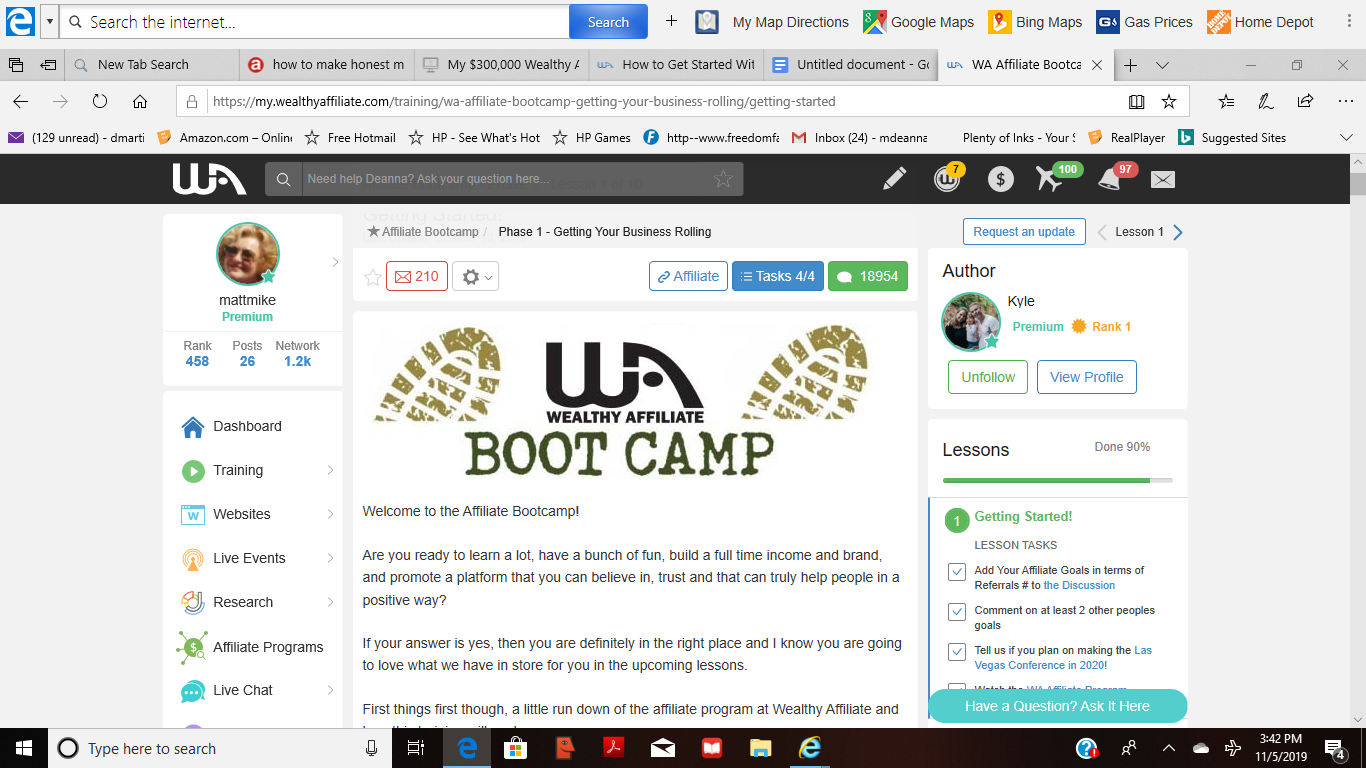 screenshot of bootcamp