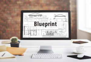 picture of blueprint on computer screen